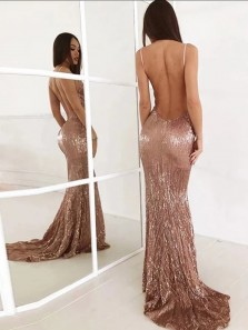 Sparkly Mermaid Deep V Neck Backless Hunter Green Sequins Long Prom Dresses with Train,Formal Evening Party Dresses