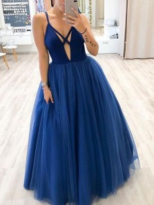Gorgeous A-Line V Neck Royal Blue Tulle Long Prom Dresses,Sexy Evening Party Dresses