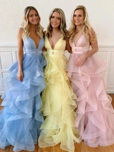 Gorgeous Ball Gown V Neck Open Back Yellow Organza Prom Dresses,2020 Blue Blush Evening Party Dresses,Sweet 16 Party Dresses