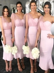 Elegant Body con One Shoulder Open back Pink Satin Tea Length Bridesmaid Dresses