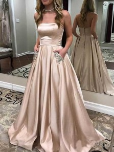 Elegant A-Line Sweetheart Champagne Satin Long Prom Dresses with Beaded Pockets