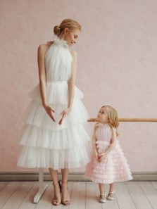 Romantic A-Line High Neck White Wedding Dresses,Cute Pink Tulle Birthday Party Dresses,Pretty Flower Girls Dresses