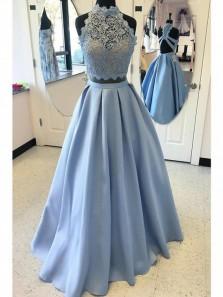 A Line Light Blue Halter Two Piece Prom Dress,Applique Formal Evening Dress