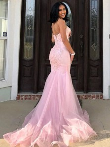 Elegant Mermaid Sweetheart Open Back Pink Tulle Long Prom Dresses with Appliques,Formal Evening Party Dresses