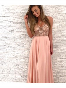 Gorgeous Beaded V-Neck Pink Chiffon Long Party Dress