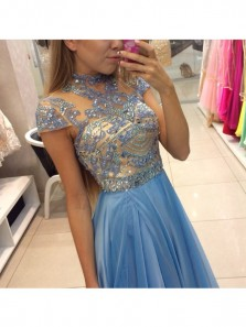 Delicate Beadings Chiffon A-line Blue Prom Dress,Cap Sleeve Sweep Train Lace Evening Dress,Long Homecoming Dress