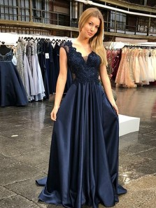 Elegant A-Line V Neck Navy Blue Satin Long Prom Dresses with Appliques Beads,Evening Party Dresses