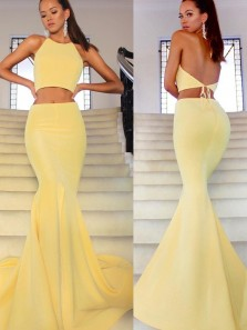 Simple Mermaid Two Piece Halter Backless Yellow Satin Long prom Dresses with Side Split,Evening party Dresses