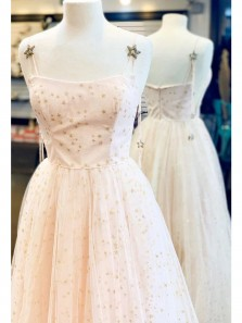 Princess A-Line Scoop Neck Spaghetti Straps Stars Tulle Long Prom Dresses,Graduation Party Dresses