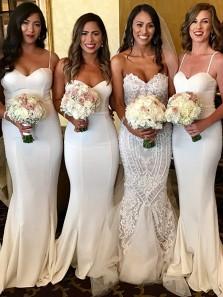 Sexy Spaghetti Straps White Elastic Satin Mermaid Long Bridesmaid Dresses
