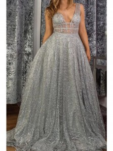 Glitter A-Line V Neck Open back Grey Sparkly Tulle Long Prom Dresses,Formal Graduation Party Dresses