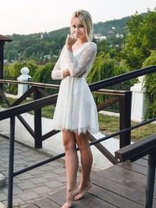 Chic A-Line V Neck Long Sleeves Open Back White Lace Short Wedding Dresses