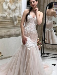 Charming Mermaid Sweetheart Tulle Wedding Dresses with Appliques