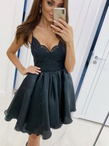 Stunning A-Line V Neck Spaghetti Straps Black Organza Short Homecoming Party Dresses with Lace Top,Little Black Dresses