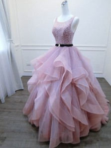 New arrival Ball Gown Round Neck Open Back Blush Pink Organza Long Prom Dresses,Quinceanera Dresses
