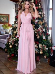 Simple A-Line V Neck Open Back Pink Chiffon Long Prom Dresses,Elegant Evening Party Dresses