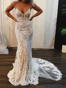 Charming Mermaid V Neck Spaghetti Straps Open Back Ivory Lace Wedding Dresses with Train
