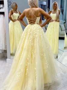 Princess A-Line Scoop Neck Cross Back Yellow Tulle Lace Long Prom Dresses,Evening Party Dresses