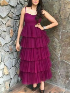 A-Line V Neck Spaghetti Straps Cinnamon Rose Tiered Tulle Ankle Length Prom Dresses,Evening Party Dresses