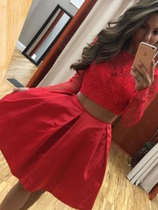 2019 Fashion Two Piece Long Sleeve Red Floral Lace Short Homecoming Dresses,Chic Short Prom Dresses