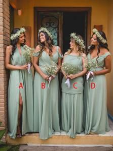 Charming A-Line 4 Styles Mint Chiffon Boho Wedding Dresses Under 100