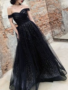 Sparkly A-Line Off the Shoulder Black Sequins Long Prom Evening Dresses,Black Wedding Dresses