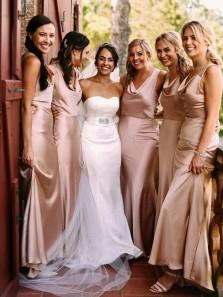 Elegant Mermaid Cowl Neck Champagne Silk Satin Long Bridesamid Dresses
