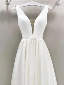 Elegant A-Line V Neck Open Back Ivory Satin Wedding Dresses with Bow
