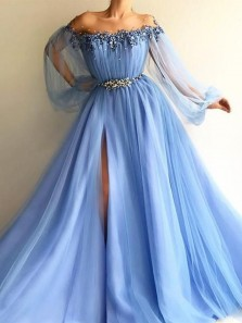 Princess A-Line Sheer Neck Long Sleeve Blue Tulle Long Prom Evening Dresses with Split and Appliques,Quinceanera Dresses
