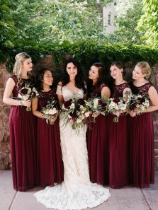 Exquisite A-Line Round Neck Burgundy Chiffon Long Bridesmaid Dresses with Appliques