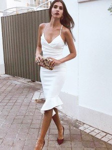 Sexy V Neck Body con Spaghetti Straps White Elastic Satin Short Prom Dresses with Ruffle ,Evening Party Dresses