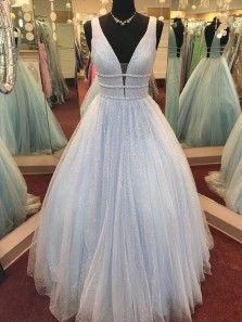 Charming A-Line V Neck Open Back Light Blue Tulle Long Prom Dresses,Quinceanera Dresses