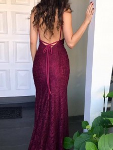 Charming Mermaid V Neck Backless Burgundy Lace Long Prom Dresses,Evening Party Dresses