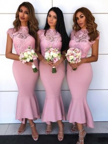 Chic Mermaid High Neck Cap Sleeve Pink Satin Bridesmaid Dresses with Lace