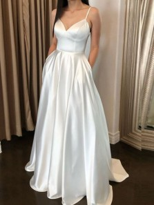 Stunning A-Line V Neck Spaghetti Straps Open Back Ivory Satin Long Prom Dresses,Simple Wedding Dresses with Pockets