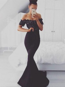 Simple Mermaid Off the Shoulder Open Back Short Sleeve Black Satin Lace Long Prom Dresses,Evening Party Dresses