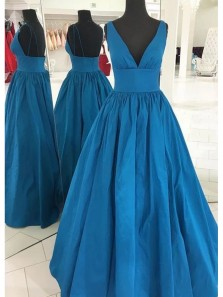 Elegant A-Line V Neck Open Back Teal Satin Long Prom Dresses with Pockets,Formal Evening Party Dresses