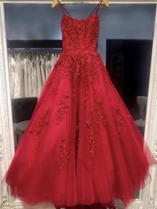 Charming A-Line Scoop Neck Cross Back Dark Red Lace Appliques Prom Dresses