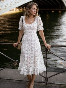 Modern A-Line U Neck Short Sleeves White Floral Lace Tea Length Wedding Guest Dresses