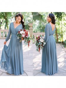 Simple A-Line V Neck Long Sleeve Blue Chiffon Long Bridesmaid Dresses Under 100