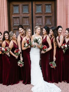 Sexy Sheath Cowl Neck Burgundy Velvet Long Bridesmaid Dresses
