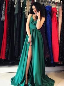 Elegant A-Line V Neck Open Back Green Satin Long Prom Dresses with Side Split,Charming Evening Party Dresses