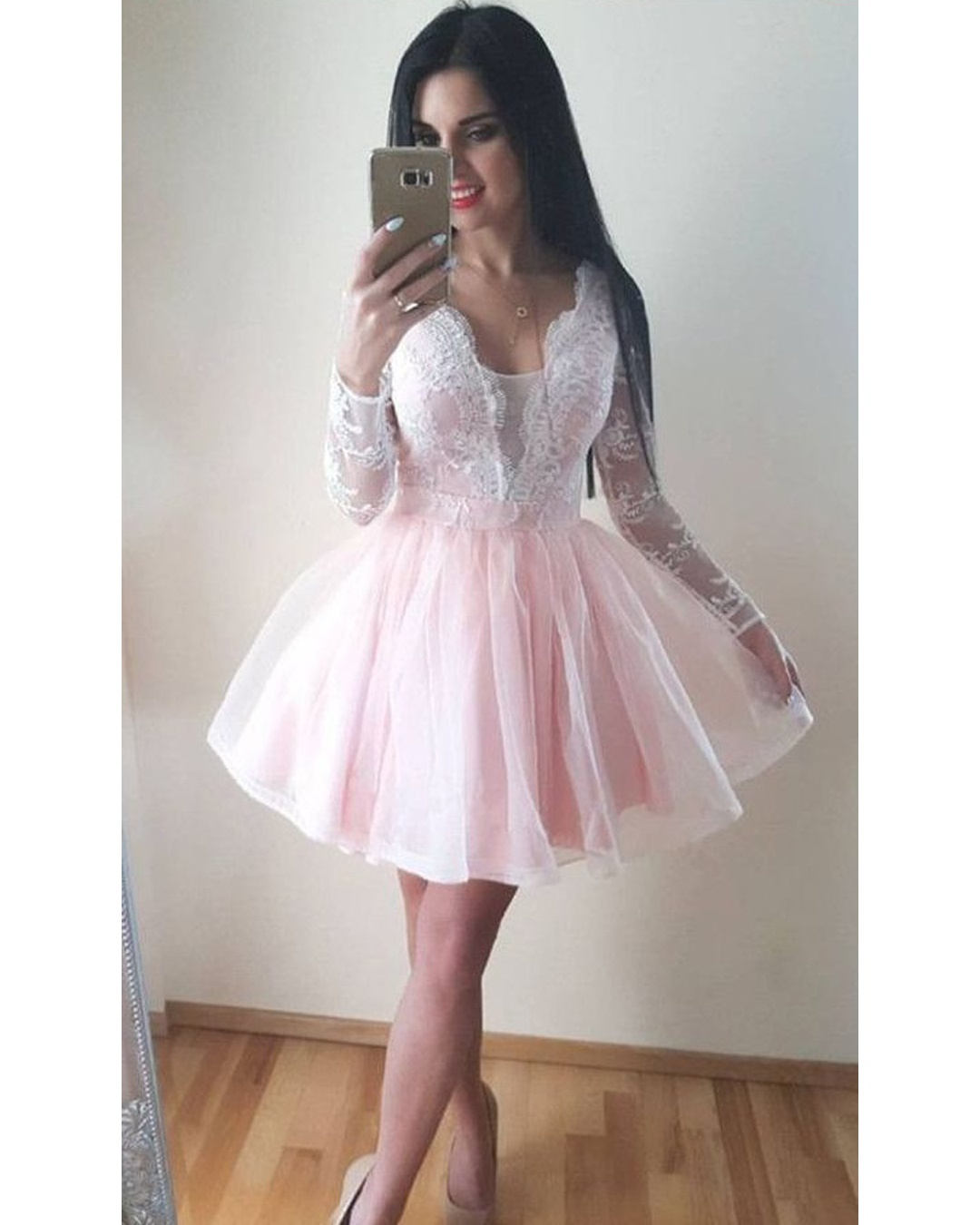 Pale Pink Homecoming Dresslight Pink Short Prom Dresslong Sleeves Pink Lace Homecoming Gow