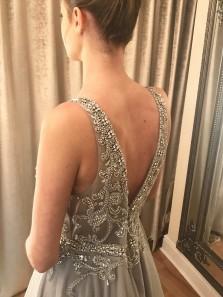 Luxurious V Neck Beaded Grey Tulle Long Prom Dress,Evening Formal Dress
