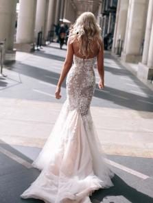 Stunning Mermaid Sweetheart Tulle Lace Wedding Dresses Bridal Gowns