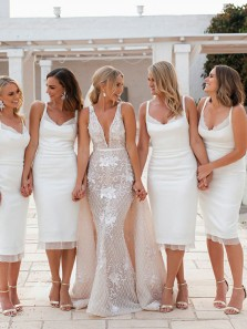 Unique Sheath V Neck Open Back White Satin Below Knee Length Bridesmaid Dresses with Split