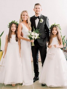Elegant Mermaid V Neck Backless White Soft Satin Long Wedding Dresses with Train,Cute Flower Girls Dresses