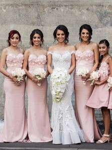 Charming Sheath Sweetheart Spaghetti Straps Open Back Pink Satin Long Bridesmaid Dresses with Appliques