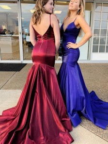 Modest Mermaid V Neck Open Back Burgundy Satin Long Prom Dresses,Evening Party Dresses