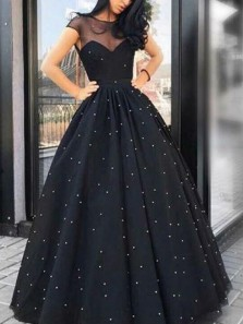 Charming A-Line Round Neck Cap Sleeve Open Back Black Tulle Long Prom Dresses,Quinceanera Dresses